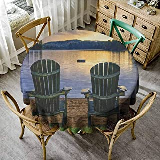Fabric Tablecloth Seaside Two Wooden Chairs on Relaxing Lakeside at Sunset Algonquin Provincial Park Canada Navy Green Waterproof Round Tablecloth Diameter 50