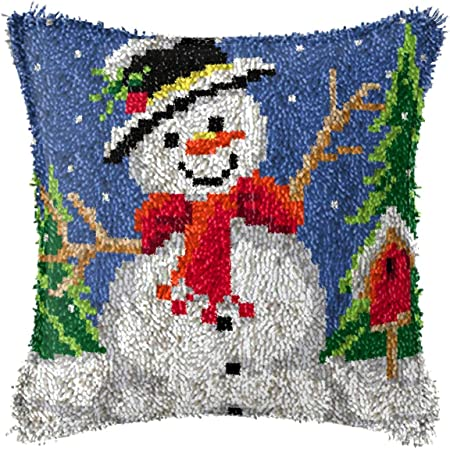 Latch Hook Kits Throw Pillow Cover with Santa Claus Printed Pattern for DIY Christmas Decoration Family Activity 17 X 17,A,17 inch