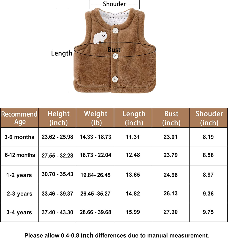 pureborn Baby Warm Sleeveless Jacket Vest Fall Winter Children Waistcoat 0-4 Years