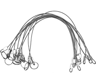MIZUGIWA Stainless Steel Lanyard Cable Tether Safety Wire for Loss Prevention 2 Loops w/Quick Release Ring & Rubber Coating 12 Set of 10
