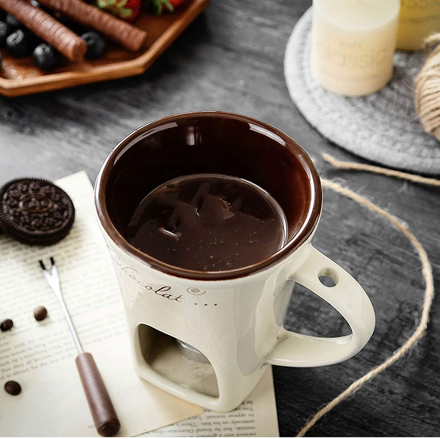 for Cheese Butter,Beige Chocolate Fondue Set with A Stainless Steel Forks Microwave and Dishwasher Safe