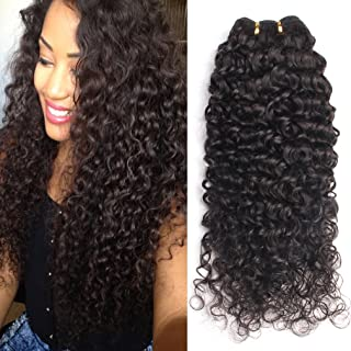 GEM Beauty Brazilian Curly Hair 3 Bundles lot Unprocessed Human Hair Extensions Brazilian Virgin Hair Deep Curly Weave 1B (14 16 18inch)