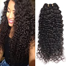 GEM Beauty Brazilian Curly Hair 3 Bundles lot Unprocessed Human Hair Extensions Brazilian Virgin Hair Deep Curly Weave 1B (14 16 18inch)