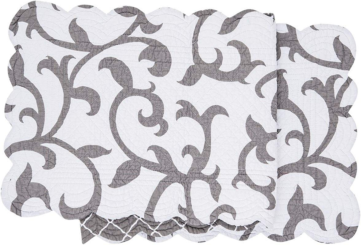 C F Home Serendipity Grey Cotton Quilted Reversible Table Cotton Machine Washable Runner 14x51 Runner Gray