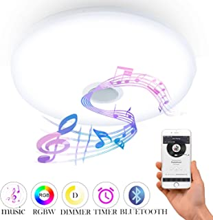 24W Bluetooth LED Ceiling Lamp with Bluetooth Speaker 85V-265V Φ36cm RGBW APP Control Music Smart LED Ceiling Lights Dimmable Big Round Mount Lighting for Kitchen Bathroom Dining Room