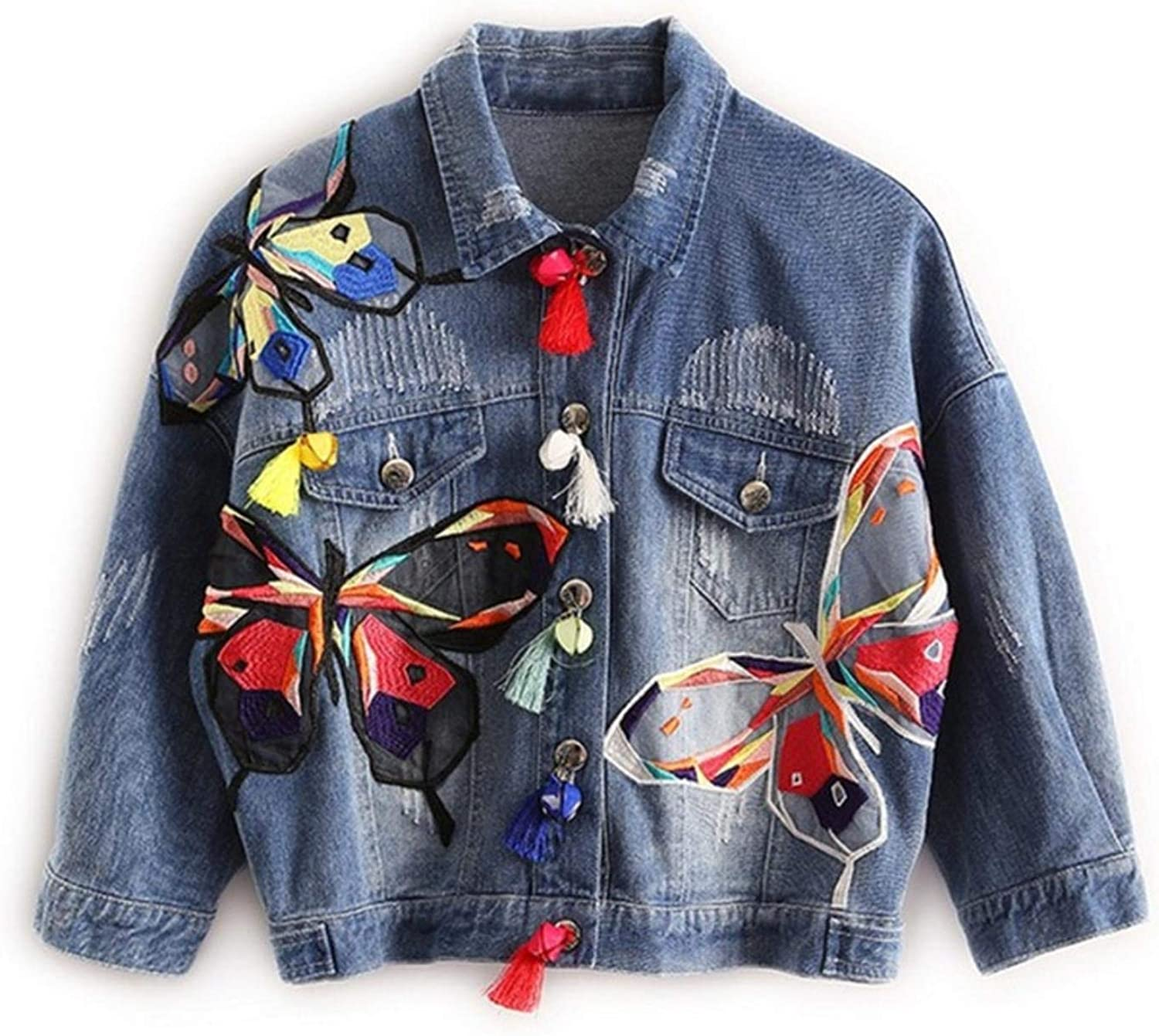 Women's Butterfly Embroidery Collage with Fringe Short Slim Denim Jacket
