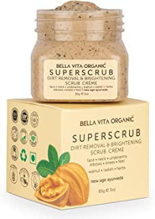 Bella Vita Organic SuperScrub Natural Scrub for Face, Body, Neck, Elbows, Knees and Feet Dirt Removal with Radish and Waln...