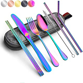 Best Rainbow Travel flatware set with Case Stainless Steel silverware Tableware Set colorful reusable-portable-utensils-silverware-case,Include Knife/Fork/Spoon/Straw (Portable RB) Review
