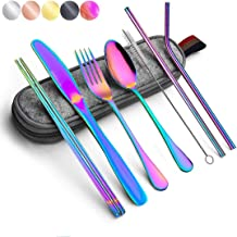 Rainbow Travel Flatware Set with Case Stainless Steel Silverware Tableware Set Colorful Reusable-Portable-Utensils-Silverw...