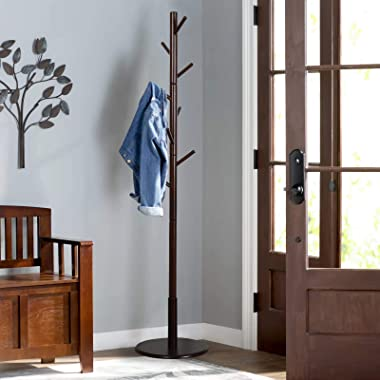 Vlush Sturdy Wooden Coat Rack Stand, Entryway Hall Tree Coat Tree with Solid Round Base for Hat,Clothes,Purse,Scarves,Handbag