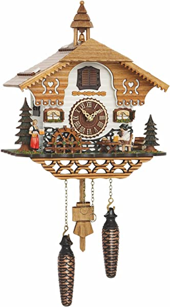 Trenkle Quartz Cuckoo Clock Black Forest House With Moving Beer Drinker And Mill Wheel With Music TU 4214 QM