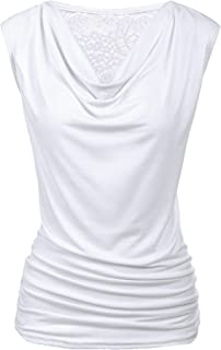 Zeagoo Womens Ruched Cowl Neck Tank Tops Sleeveless Stretch Blouse with Side Shirring