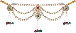 Archi Collection Traditional Gold Plated Kundan Stone Pearl Tassel Kamarband Waist Chain for Girls