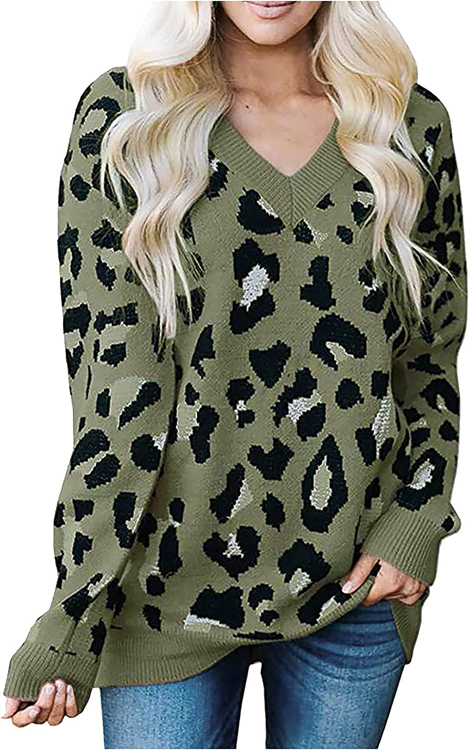 Women Phoenix Mall Leopard Ranking TOP9 Print Jacquard V-Neck Loose S Knitted Long Sweater