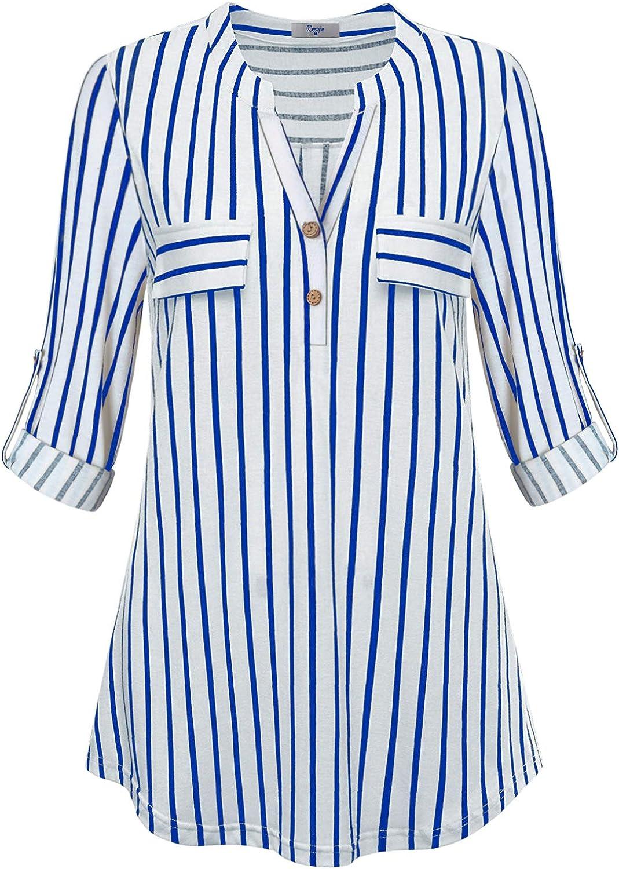 Cestyle Womens Bell Sleeve Notch Neck Pin Tuck Tunic Shirt Top