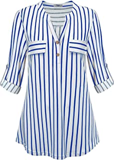 Cestyle Womens V-Neck Stripe Work Casual Blouse Flowy Henley Shirt Tops