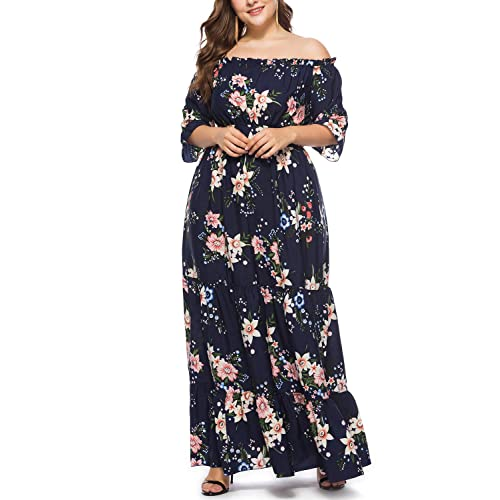 c02c41348fc Ladies Floral Print Chiffon Dress Off The Shoulder Ruffle Evening Party  Summer Beach Maxi Dress Plus