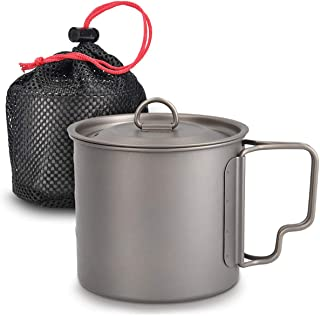 Navaris Titanium Camping Cup Mug - 600 ml (20.3 oz) Metal Cookware Pot for Coffee, Water and Hot or Cold Food with Lid, Fo...