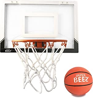 JAPER BEES Pro Mini Basketball Hoop Over The Door & Wall Mount Indoor Basketball Hoop w/Shatterproof Backboard