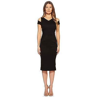 Zac Posen Bonded Crepe Cold Shoulder Cocktail Dress (Black) Women