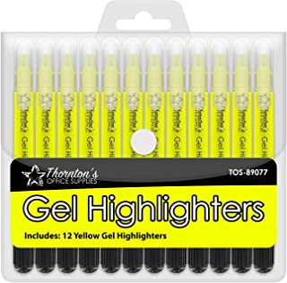 Thornton's Office Supplies Twist-Retractable Bible Gel Highlighters Pack of 12 (Yellow)