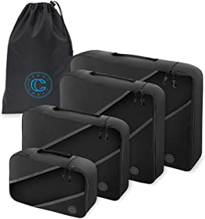 4-Piece Luggage Packing Cubes - Travel Organizer Set with Laundry Bag - Black