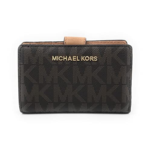 2d6393bbbe45 Michael Kors Jet Set Travel PVC Signature Bifold Zip Coin Wallet Clutch