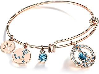 Leafael Superstar Zodiac Expandable Bangle Bracelet Made with Premium Crystals Horoscope Constellation October November Bi...