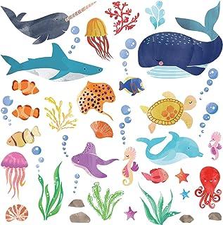 Watercolor Ocean Creatures/Under The Sea Fish Wall...