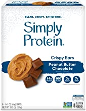 SimplyProtein Crispy Bars. Clean and Light Crispy Bars with Plant Based Protein (Peanut Butter Chocolate, 8 Pack).