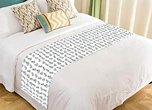 Custom White Background Navy Anchors Home Bed Runner Bedding Scarf Size 20x95 inches