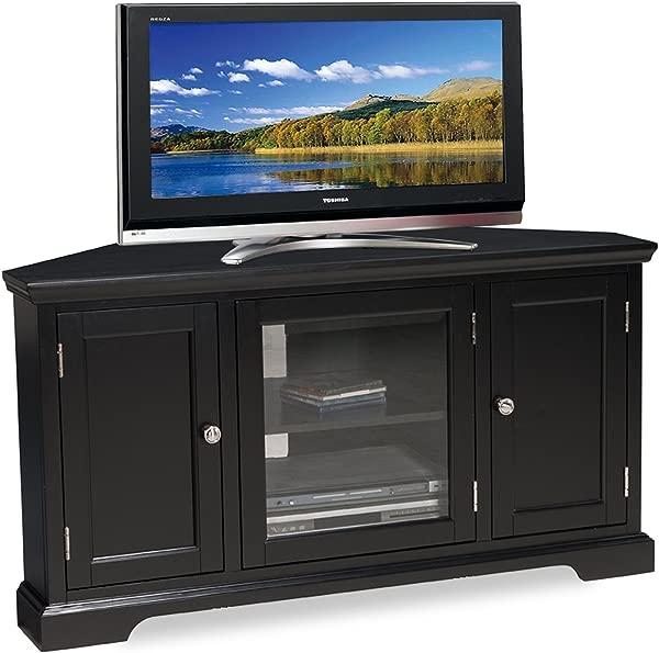 Leick 黑色硬木角电视架 46 英寸
