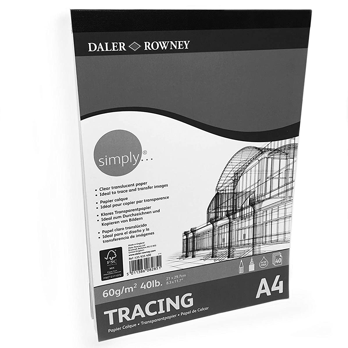 Daler Rowney – Tracing Paper Pad – 60gsm – 40 Pages – A4 Portrait – Made in England