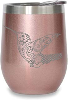 C M Hummingbird rose gold- 12 oz. Double Insulated Stainless Steel Stemless Wine Tumbler with Lid-Laser Engraved