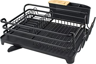 BRIAN & DANY Aluminum Dish Drying Rack,Never Rust Dish Rack with Removable Cutlery Holder &Cup Holder (Black)
