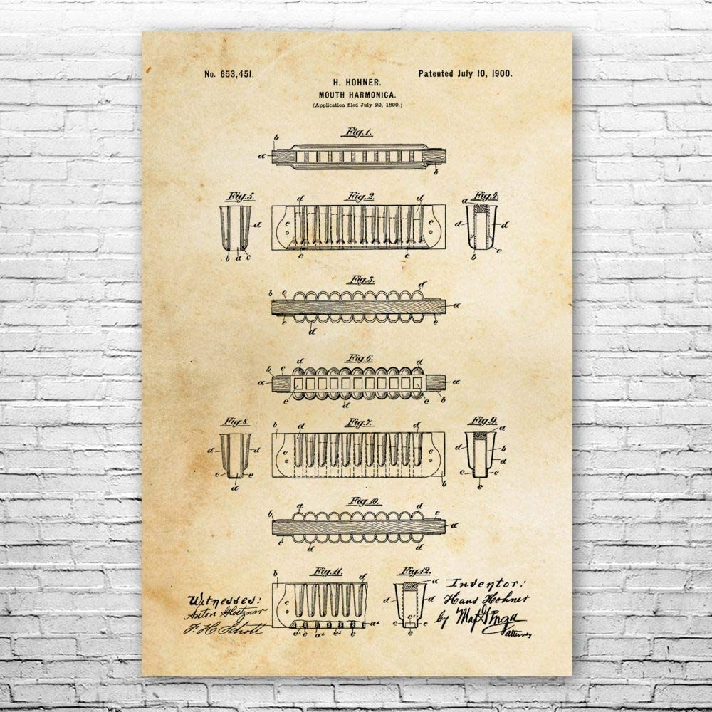 Patent Earth Harmonica Poster Print 正規取扱店 Blues Art Studio Recording 年末年始大決算