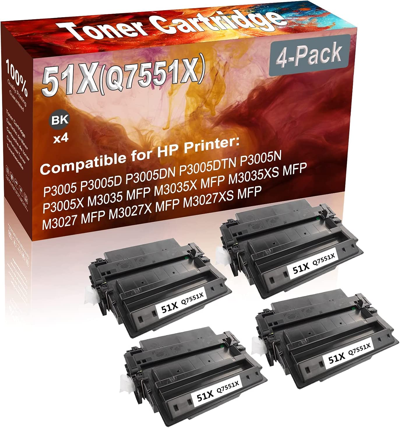 4-Pack (Black) Compatible 51X (Q7551X) Printer Toner Cartridge (High Capacity) fit for HP P3005 P3005D P3005DN Printer