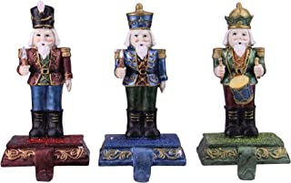 """Northlight Set of 3 Blue, Red and Green Glittered Nutcracker Stocking Holders 7.75"""""""