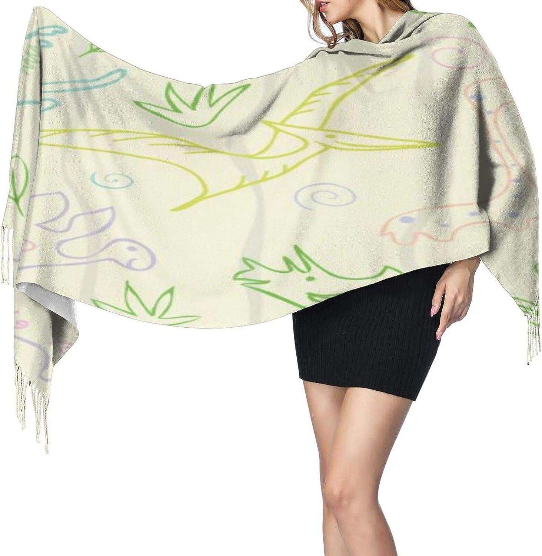 Cashmere fringed scarf Dinosaur Stegosaurus pattern winter extra large scarf
