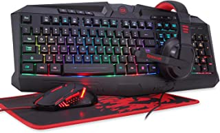 Redragon S101-BA PC Gaming Keyboard and Mouse Combo, Mousepad, Headset with Mic, Wired LED RGB Backlit Mouse with 3200 DPI for Windows Computer Gamers (Gaming Mouse and Keyboard Headset Mousepad Set)