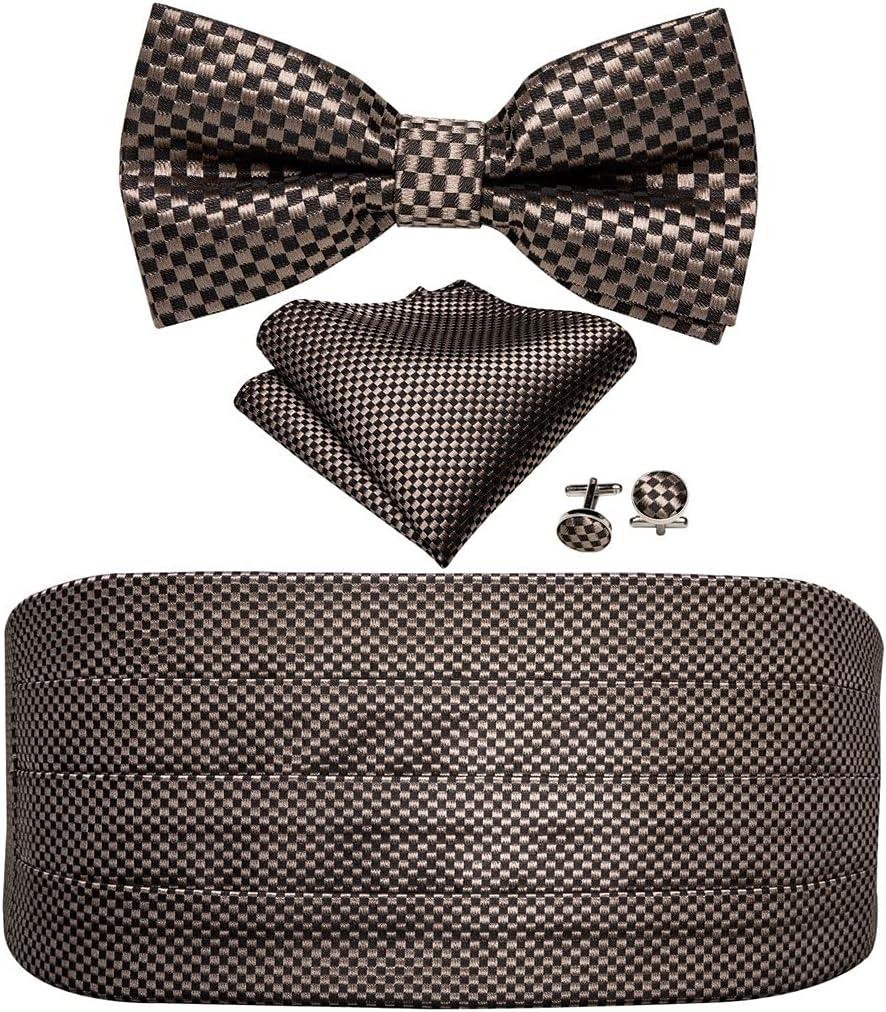 ZYKBB Mens Brown Bow Tie Plaid Cummerbund Checkered Bow Tie Handkerchief Cufflinks Cummerbund Waist Belt for Wedding (Color : A, Size : One size)