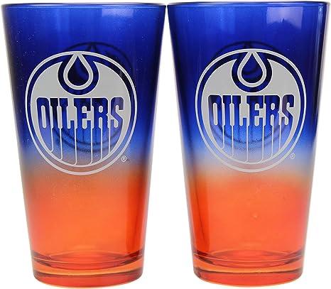 Nhl 16 Oz 2 Tone Pint Glass Set Edmonton Oilers Beer Glasses