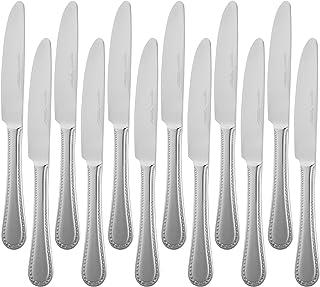 AmazonBasics Service de 12 couteaux de table en acier inoxydable avec bord perlé