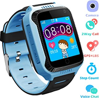 PTHTECHUS Kids GPS Smartwatch for Boys Girls - Student Fitness Tracker Watch GPS Tracker Wristband Phone with Game SOS Voice Chat Alarm Clock Camera Flashlight Children Birthday Wrist Watch,Blue