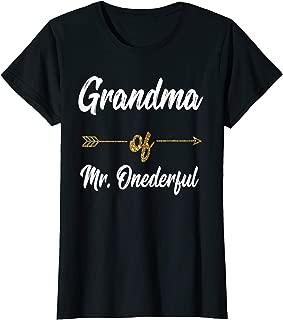 Womens Grandma Of Mr. Onederful Shirt Funny First Birthday grandson