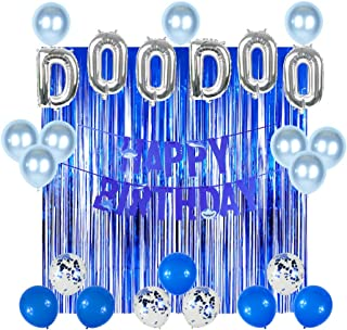 Baby Cute Shark Party Supplies Kit, 18 Inch DOO DOO Shark Foil Balloons Sea Blue Color Metallic Foil Fringe Curtains Sea Blue Confetti Balloons Party Pack for Kids Birthday Party Decorations Baby Shower Baby Cute Shark Theme Party Sea Ocean Party Decors