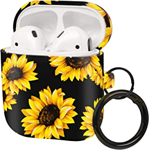 FRDERN AirPods case with Keychain Compatible for Apple AirPods 1 & 2 Soft Silicone Fadeless Pattern Printed Cases Women Girls Men , Support Wireless Charging for AirPods(Black Sunflower)