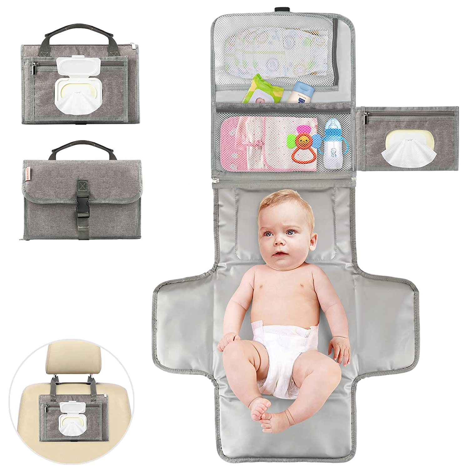 Portable Diaper Changing Pad,Detachable Baby Change Mat with Head Cushion,Waterproof Diaper Travel Changing Station Kit Baby Gift by Idefair