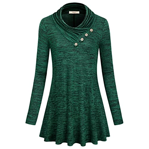 f97fa59381 Miusey Women s Long Sleeve Cowl Neck Form Fitting Casual Tunic Top Blouse