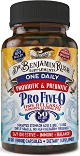Dr Benjamin Rush Pro Five-0 Probiotic and Prebiotic Pills One Daily 50 Billion CFU Shelf Stable Best for Time Released Technology Digestive Health